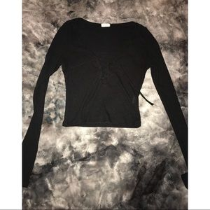 Black tie up crop top from Pacsun